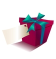 Red gift box with blue ribbon isolated on white vector image
