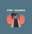 scared terrified woman with bruises on face stop vector image vector image