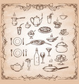 set hand-drawn sketches on old paper vector image