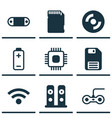 set of 9 computer hardware icons includes memory vector image vector image