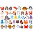 set of cartoon animal vector image vector image