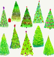 Set of Christmas trees isolated on white vector image
