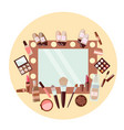 set of cosmetics and mirror on yellow background vector image