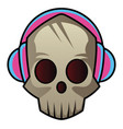 skull with headphones on on white background vector image vector image