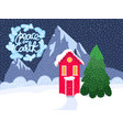 snowy scandinavian red house vector image