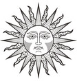 sun face black white tattoo vector image vector image