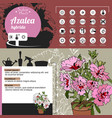template for indoor plant azalea tipical flowers vector image