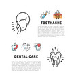 toothache icons dental care card dentistry thin vector image vector image
