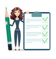 woman with a questionary and big green pencil vector image vector image