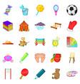 schoolboy icons set cartoon style vector image