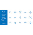 15 flight icons vector image vector image