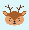 a head of a cute sleeping deer on a white vector image vector image