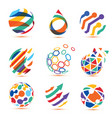 abstract globe and puzzle symbol setcommunication vector image vector image