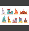ancient castles and fortresses set various vector image vector image