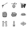 Apiary set icons in monochrome style Big vector image