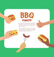 bbq party text sample hands vector image vector image
