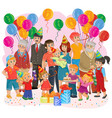 big happy family together celebrate a birthday vector image
