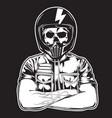 biker helmet motorcycle vector image