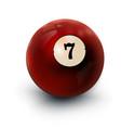 billiards ball red 3d realistic icon seven vector image vector image