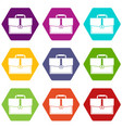 business briefcase icon set color hexahedron vector image vector image