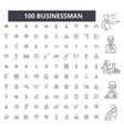 businessman editable line icons 100 set vector image vector image