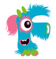 cartoon capital letter f from monster alphabet vector image vector image