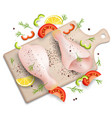 chicken drumsticks on cutting board vector image vector image