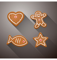 Christmas Gingerbread - Heart Fish Star and vector image vector image
