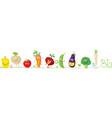 cute bio vegetable cartoon for babies standing in vector image
