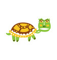 cute green turtle character walking vector image vector image