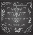 dark flourish border corner and frame elements vector image vector image