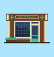 facade of pharmacy pharmacy store icon flat vector image vector image