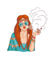 flat hippie girl smoking cannabis cigarette vector image