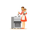 flat super mom cooking character with child vector image