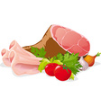 ham with vegetable - isolated on white backg vector image vector image