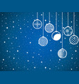 hanging christmas balls on a snowy background vector image vector image