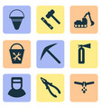 industry icons set with excavator fire bucket vector image vector image