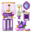 interior of the bathroom in purple color