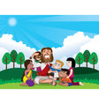 jesus and kids vector image vector image