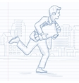 Man running with suitcase full of money vector image vector image