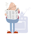 Man smoking a pipe and reading newspaper vector image vector image