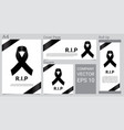 mock up mourning symbol with black respect ribbon vector image