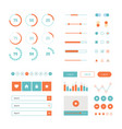 modern ui flat design kit in trendy color vector image