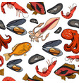 pattern with set colored sea food products vector image