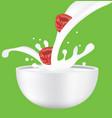 raspberry in milk splash vector image