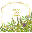 save date card with greenery vector image