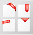 set banners with red sale corners realistic vector image vector image
