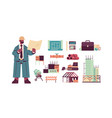 set engineering tools icons and architect vector image