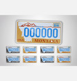 set montana auto license plate detailed object vector image