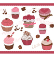 set of cute cupcakes for design vector image vector image